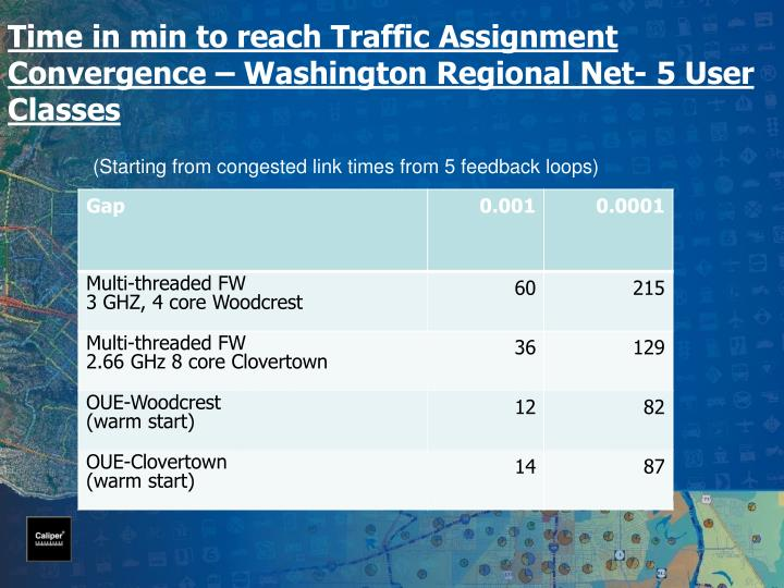 Time in min to reach Traffic Assignment Convergence – Washington Regional Net- 5 User Classes
