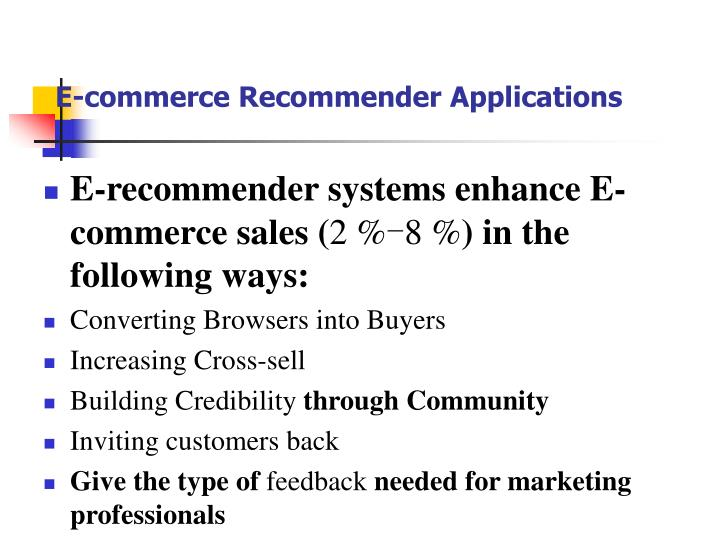 E-commerce Recommender Applications