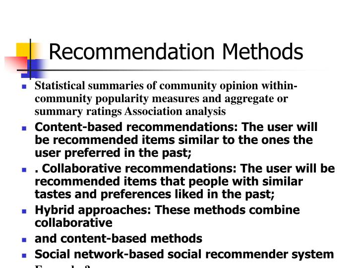 Recommendation Methods