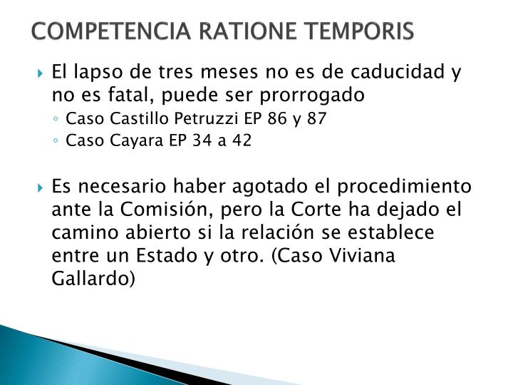 COMPETENCIA RATIONE TEMPORIS