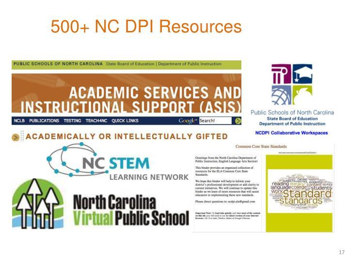 500+ NC DPI Resources