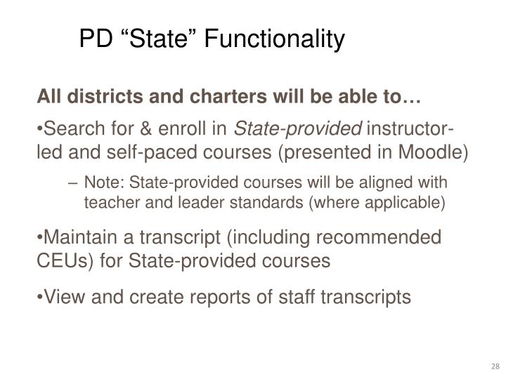 """PD """"State"""" Functionality"""