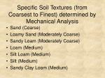 specific soil textures from coarsest to finest determined by mechanical analysis