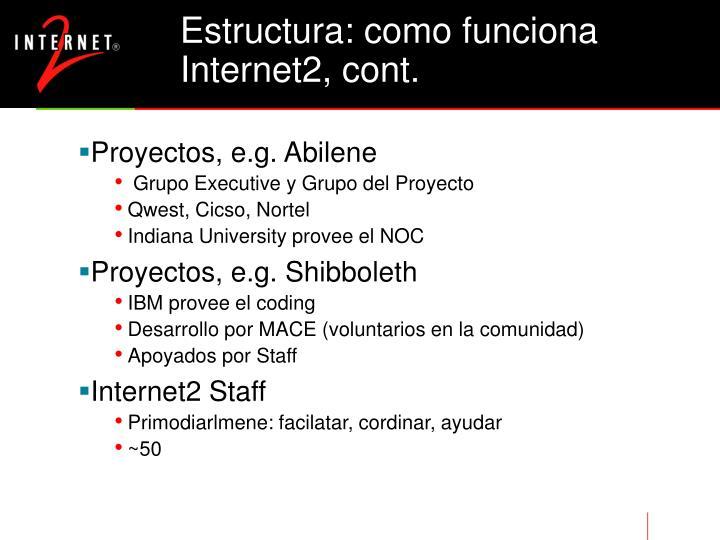 Estructura: como funciona Internet2, cont.