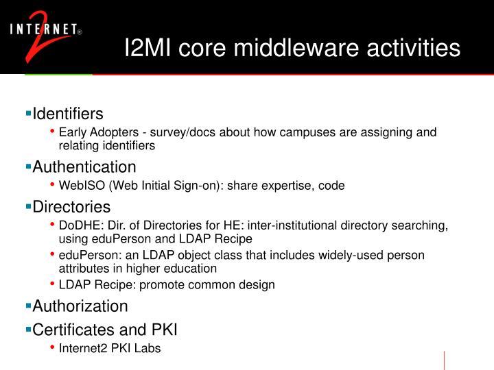 I2MI core middleware activities