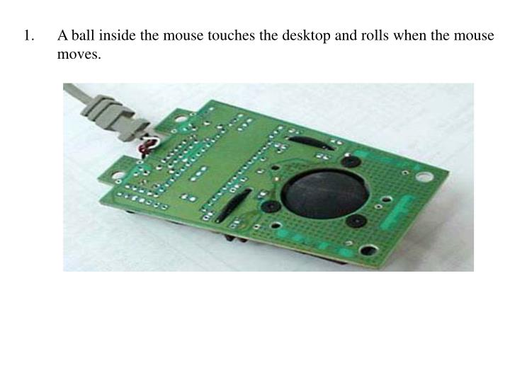 A ball inside the mouse touches the desktop and rolls when the mouse moves.