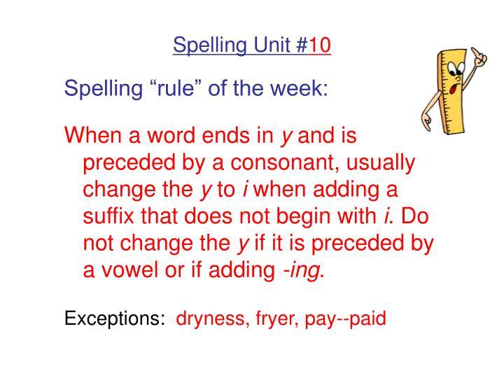 spelling unit 10 n.