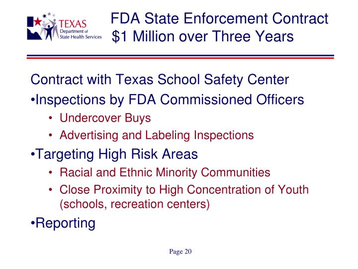 FDA State Enforcement Contract