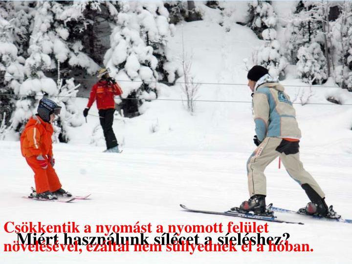 Csökkentik a nyomást a nyomott felület növelésével, ezáltal nem süllyednek el a hóban.