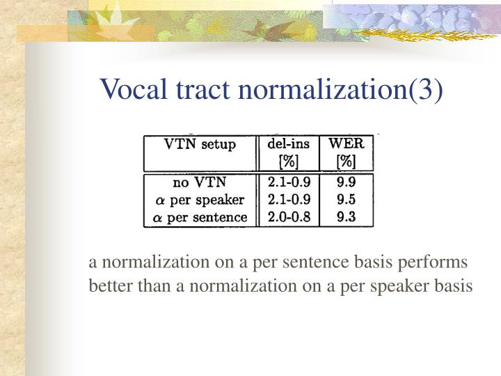 Vocal tract normalization(3)