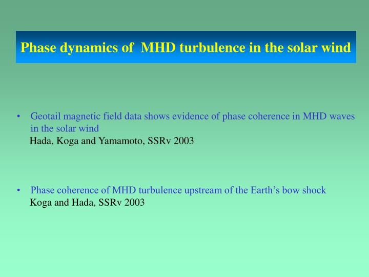 Phase dynamics of  MHD turbulence in the solar wind