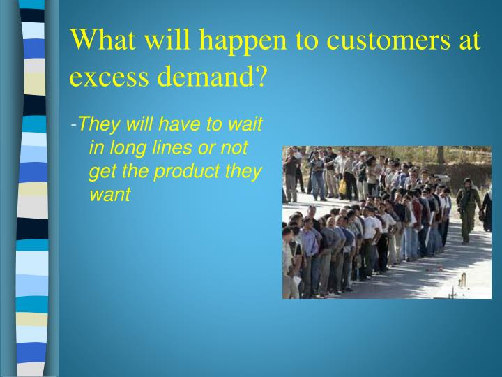 What will happen to customers at excess demand?