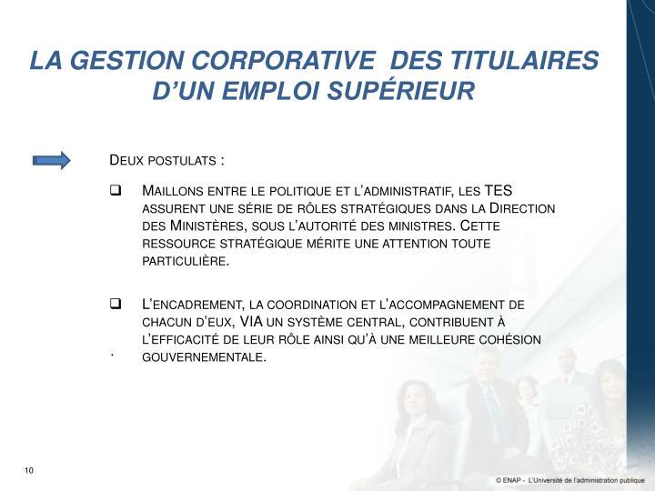 LA GESTION CORPORATIVE  DES TITULAIRES D'UN EMPLOI SUPÉRIEUR