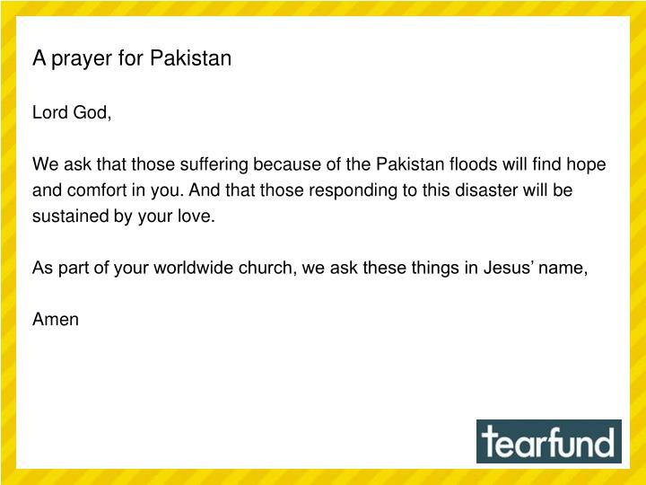 A prayer for Pakistan