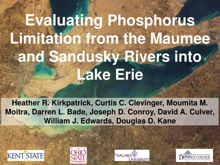 evaluating phosphorus limitation from the maumee and sandusky rivers into lake erie n.