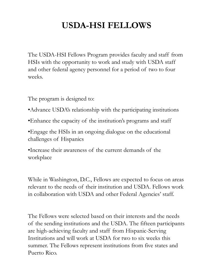 USDA-HSI FELLOWS