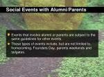 social events with alumni parents