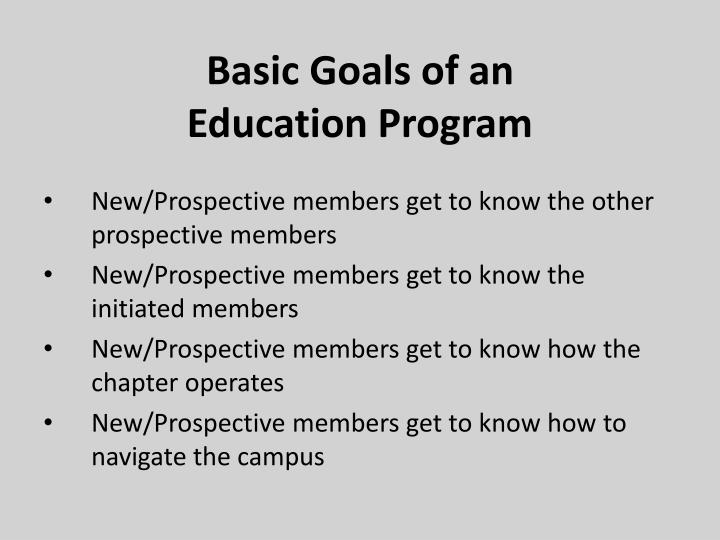 Basic goals of an education program