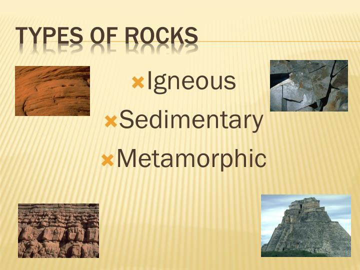 types of rocks n.