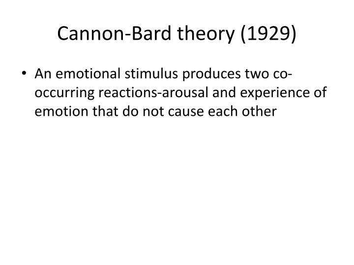 cannon bard theory of emotion psychology