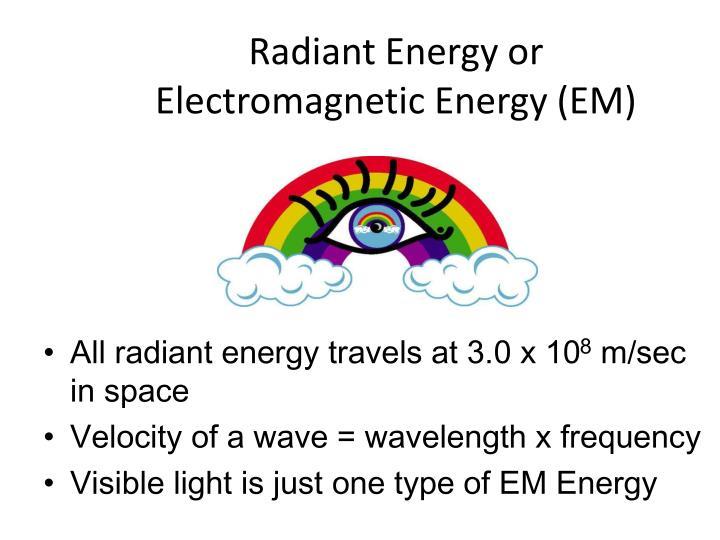 radiant energy or electromagnetic energy em n.