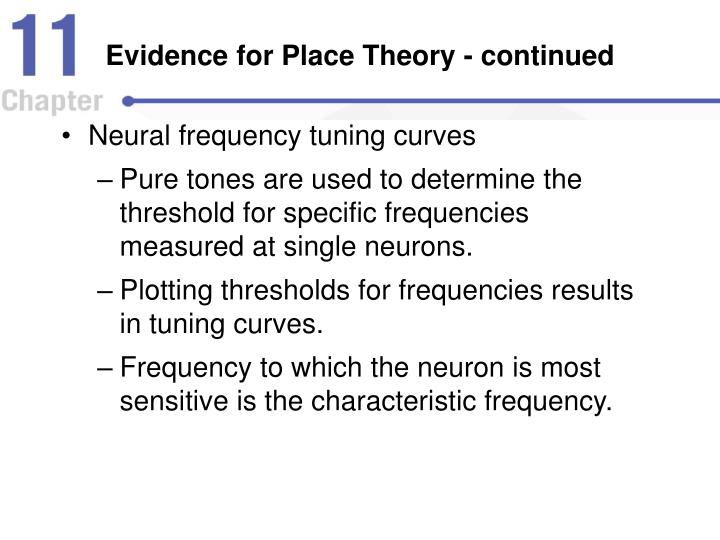 Evidence for Place Theory - continued