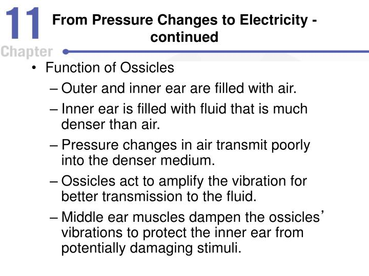 From Pressure Changes to Electricity - continued