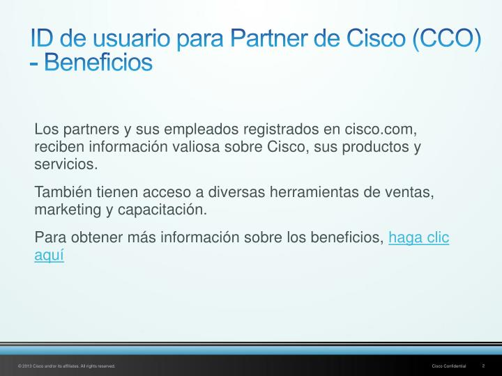 Id de usuario para partner de cisco cco beneficios