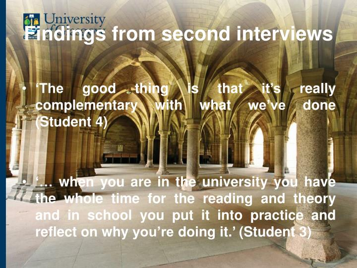 Findings from second interviews