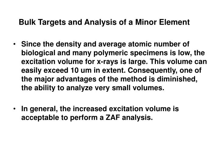 Bulk Targets and Analysis of a Minor Element