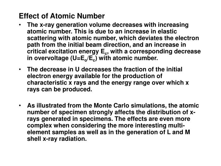 Effect of Atomic Number