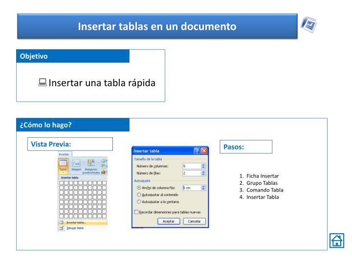 Insertar tablas en un documento