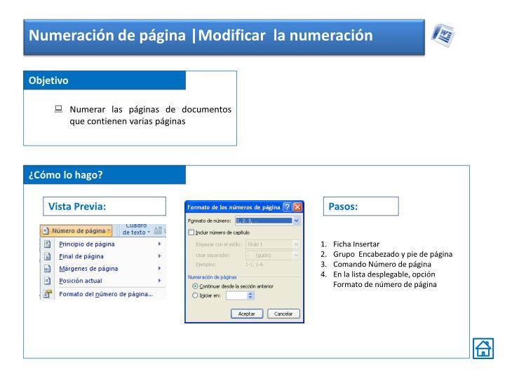 Numeración de página |Modificar  la numeración