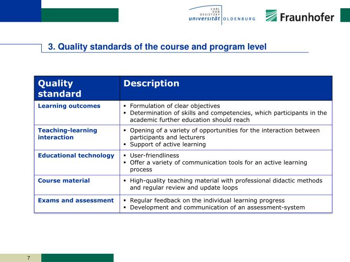 3. Quality standards of the course and program level