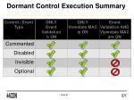 dormant control execution summary