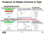 evidence of hidden controls type