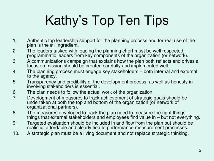 Kathy's Top Ten Tips