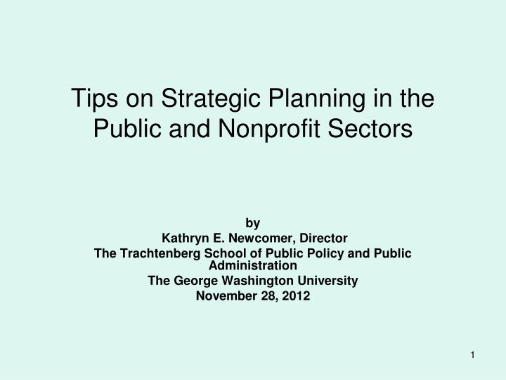 Tips on strategic planning in the public and nonprofit sectors