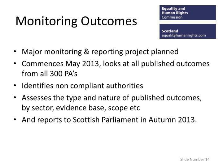 Monitoring Outcomes