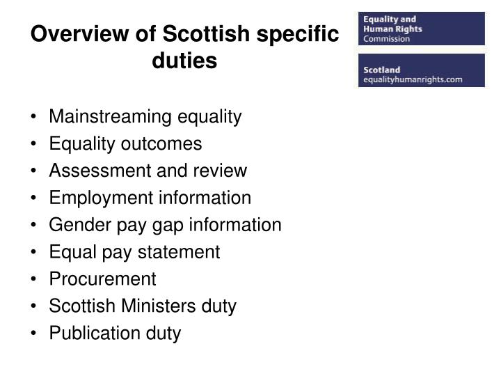Overview of Scottish specific duties