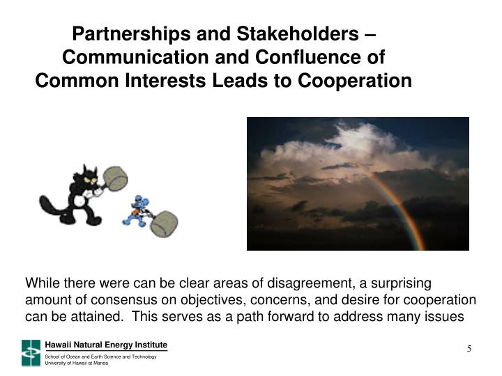 Partnerships and Stakeholders –