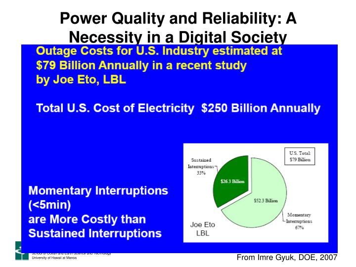 Power Quality and Reliability: A Necessity in a Digital Society