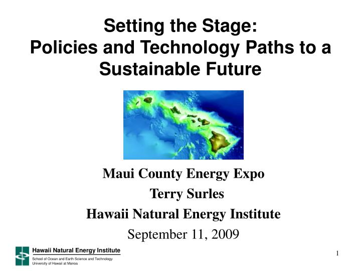 Setting the stage policies and technology paths to a sustainable future