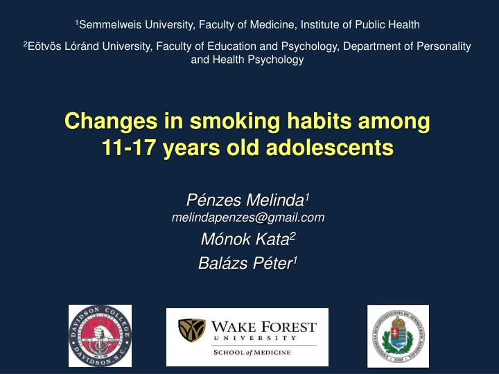 Changes in smoking habits among 11 17 years old adolescents