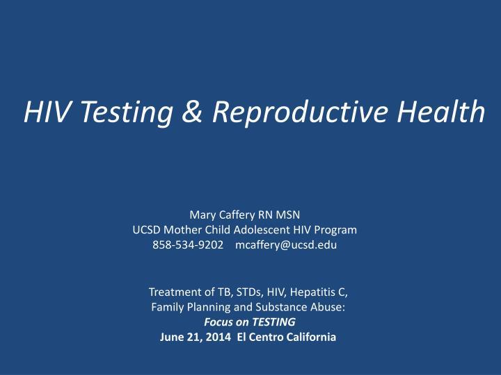 Hiv testing reproductive health