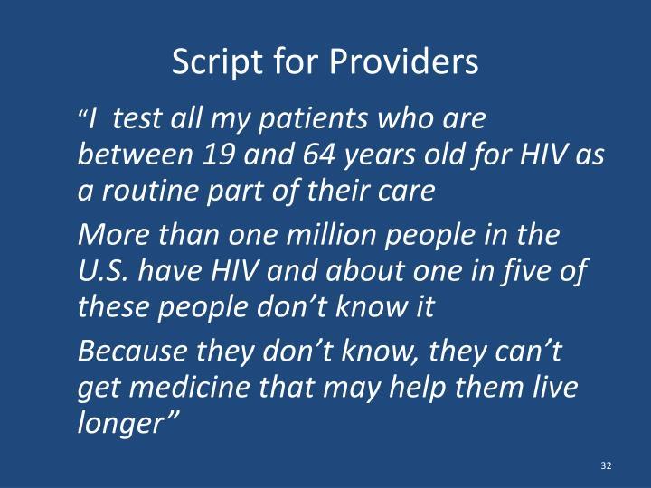 Script for Providers