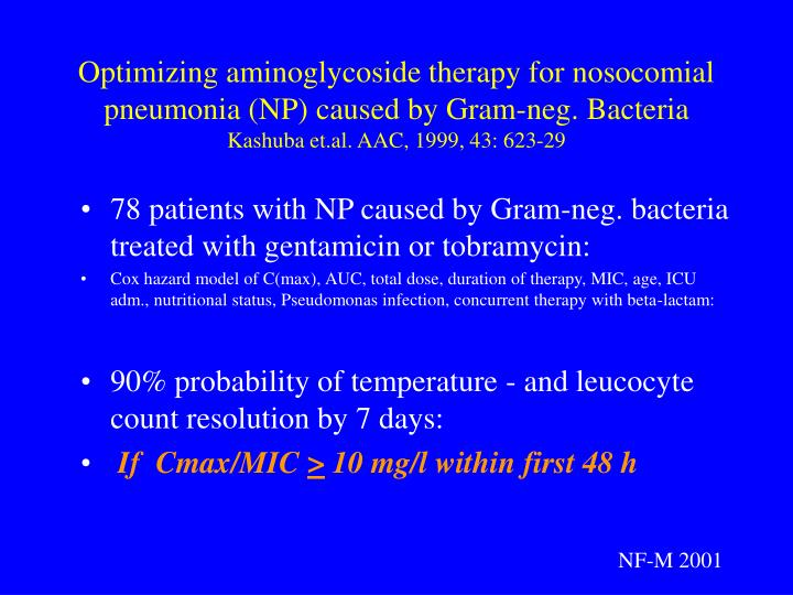Optimizing aminoglycoside therapy for nosocomial pneumonia (NP) caused by Gram-neg. Bacteria
