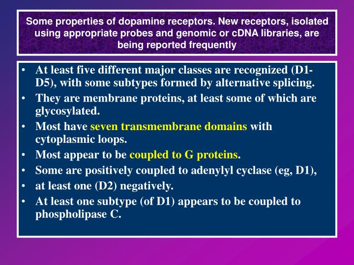 Some properties of dopamine receptors. New receptors, isolated using appropriate probes and genomic or cDNA libraries, are being reported frequently