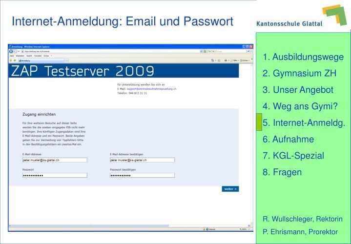Internet-Anmeldung: Email und Passwort