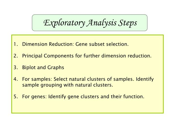 Exploratory Analysis Steps